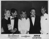 From left to right Patricia Puttnam and her husband producer David Puttnam actress Susan George producer Jeremy Thomas and actor Simon MacCorkindale...