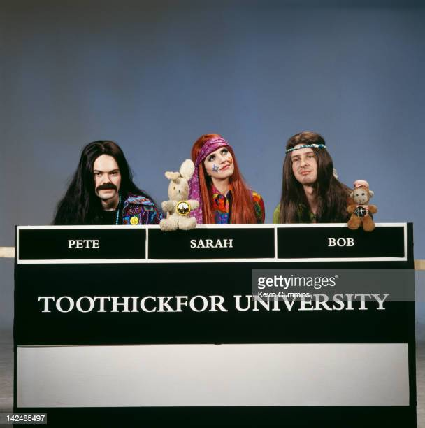 From left to right Pete Wiggs Sarah Cracknell and Bob Stanley of English pop group Saint Etienne pose as members of Toothickfor University in a spoof...
