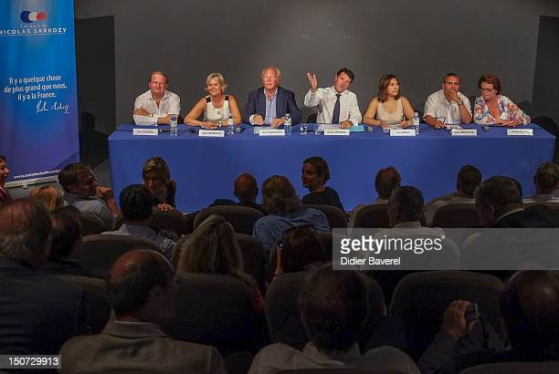 from left to right Pierre Charron Nadine Morano Brice Hortefeux Christian Estrosi Nora Berra Xavier Bertrand and Christine Boutin during the first...