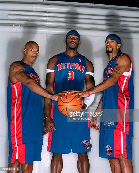Point guard Chauncey Billups center Ben Wallace and guard Richard Hamilton of the Detroit Pistons