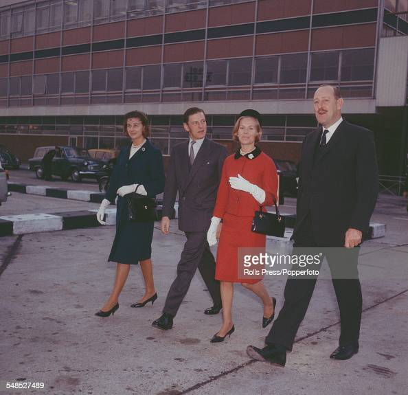 Princess Alexandra The Honourable Lady Ogilvy Angus Ogilvy and Katharine Duchess of Kent walk together with an unidentified man across the apron of...