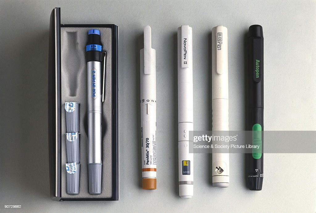 From left to right Purin Pen insulin injection device manufactured by CP Pharmaceuticals Ltd UK 1992 Pen Mix 30/70 insulin injection pen Novo Nordisk...