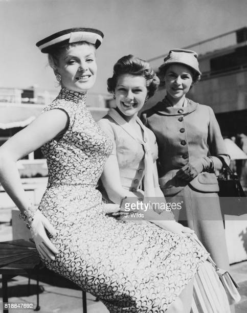 From left to right Rank Organisation actresses Belinda Lee Susan Beaumont and Muriel Pavlow leave London Airport for the Cannes Film Festival 2nd May...