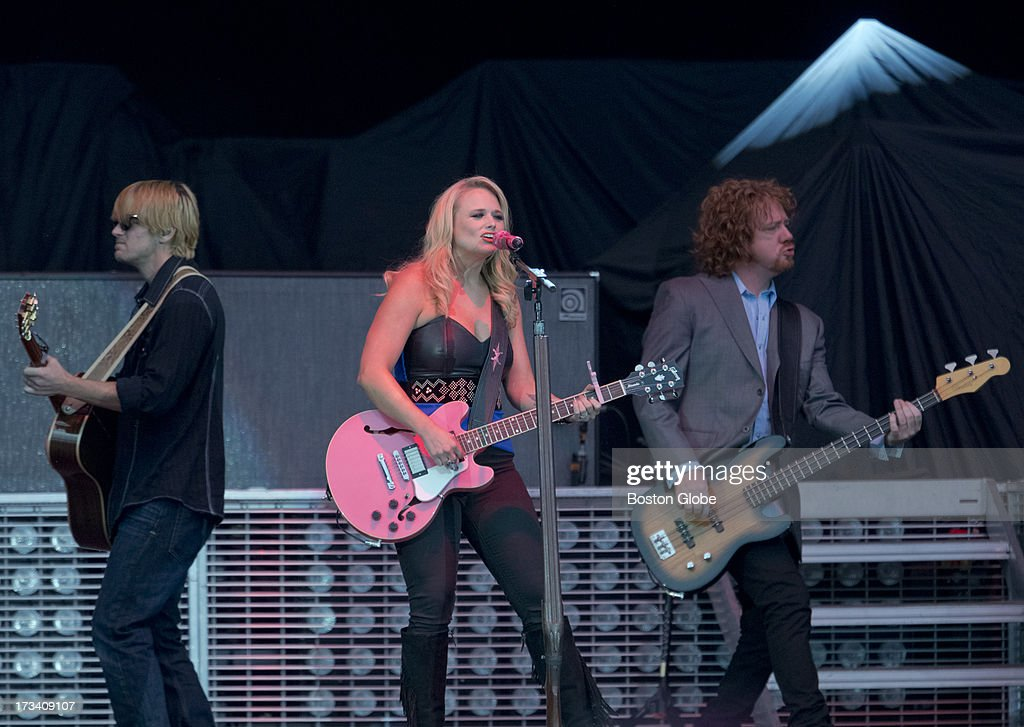 Scotty Wray, Miranda Lambert, and Aden Bubeck during the opening act for Jason Aldean in concert at Fenway Park, Friday, July 12, 2013.