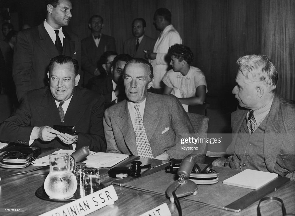From left to right SecretaryGeneral Trygve Lie Swedish diplomat Count Folke Bernadotte of Wisborg and Dmitry Manuilsky attend a meeting of the United...