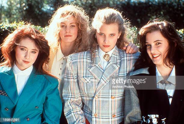 From left to right Shannen Doherty Lisanne Falk Kim Walker and Winona Ryder on set of the film 'Heathers' 1988