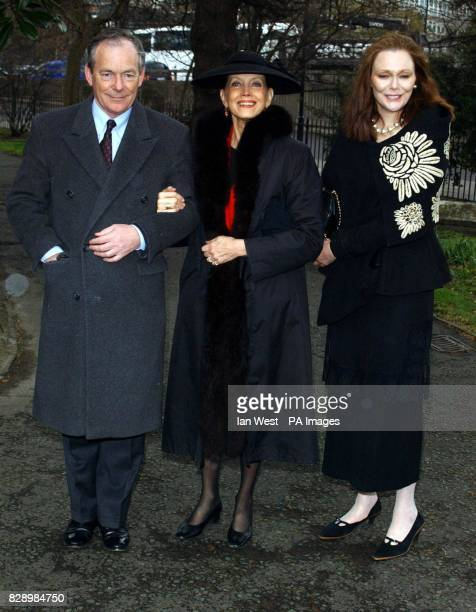 From left to right Simon Jenkins Gayle Hunnicut and Tessa Dahl arrive for the memorial service for actor David Hemmings at St Mary's Church in...