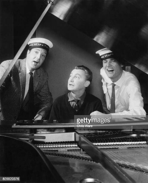 From left to right singer David Hughes playwright Hugh Hastings and DJ Pete Murray rehearse for Britain's firstever allmale musical 'Scapa Flow' or...