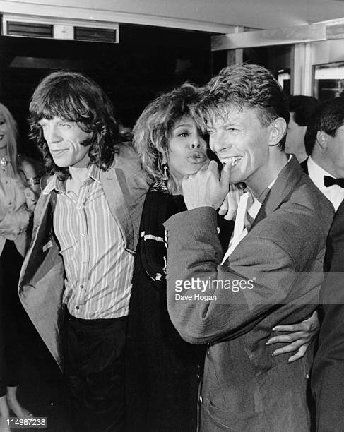From left to right singers Mick Jagger Tina Turner and David Bowie at the Prince's Trust 10th Anniversary Rock Gala at Wembley Arena London 23rd June...