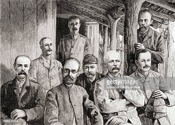 From Left To Right Stanley Emin Casati And Officers At Mackay's Missionary Station At Usambiro During Stanley's Emin Pasha Relief Expedition In...