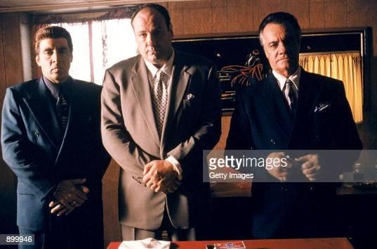 From left to right Steven Van Zandt as Silvio Dante James Gandolfini as Tony Soprano and Tony Sirico as Paulie Walnuts star in HBO's hit television...