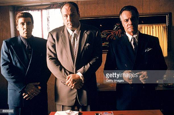 From left to right Steven Van Zandt as Silvio Dante James Gandolfini as Tony Soprano and Tony Sirico as Paulie Walnuts star in HBO's hit television...