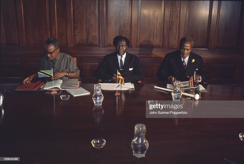 From left to right, Tanzanian President <a gi-track='captionPersonalityLinkClicked' href=/galleries/search?phrase=Julius+Nyerere&family=editorial&specificpeople=228294 ng-click='$event.stopPropagation()'>Julius Nyerere</a> (1922 - 1999), Ugandan Prime Minister <a gi-track='captionPersonalityLinkClicked' href=/galleries/search?phrase=Milton+Obote&family=editorial&specificpeople=902467 ng-click='$event.stopPropagation()'>Milton Obote</a> (1925 - 2005) and Kenyan President <a gi-track='captionPersonalityLinkClicked' href=/galleries/search?phrase=Jomo+Kenyatta&family=editorial&specificpeople=211508 ng-click='$event.stopPropagation()'>Jomo Kenyatta</a> (1893 - 1978), 1965.