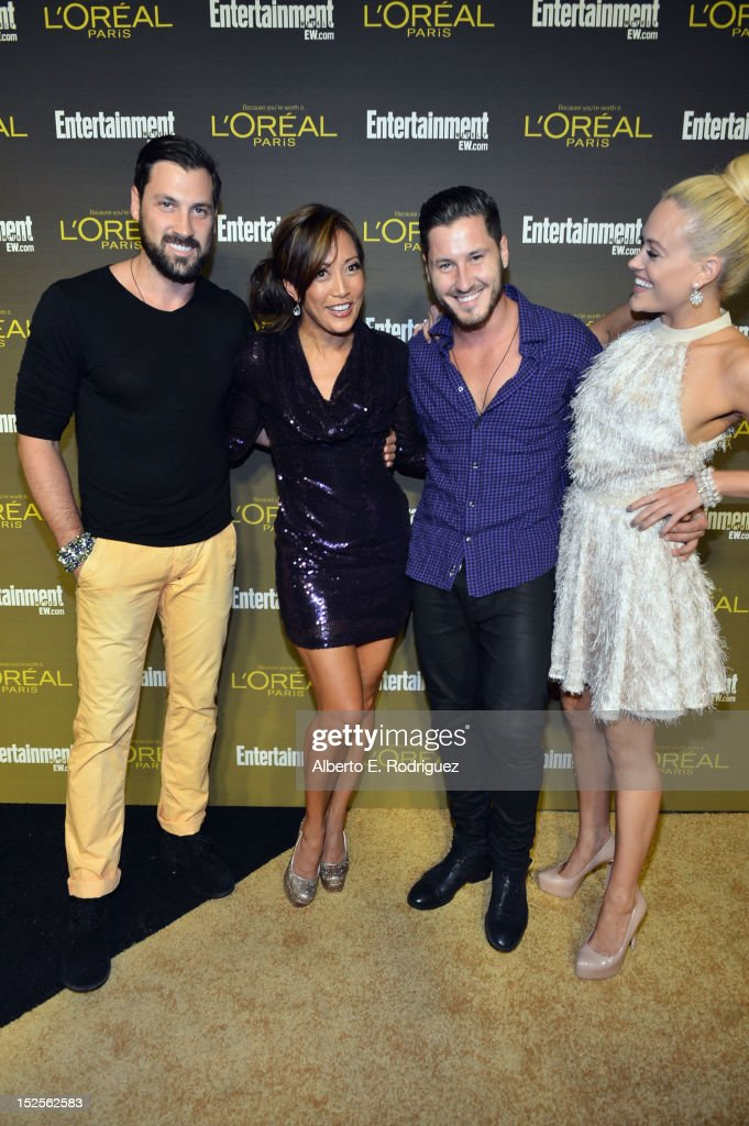 From left to right, television personalities Maksim Chmerkovskiy, Carrie Ann Inaba, Valentin Chmerkovskiy and Peta Murgatroyd attend The 2012 Entertainment Weekly Pre-Emmy Party Presented By L'Oreal Paris at Fig & Olive Melrose Place on September 21, 2012 in West Hollywood, California.