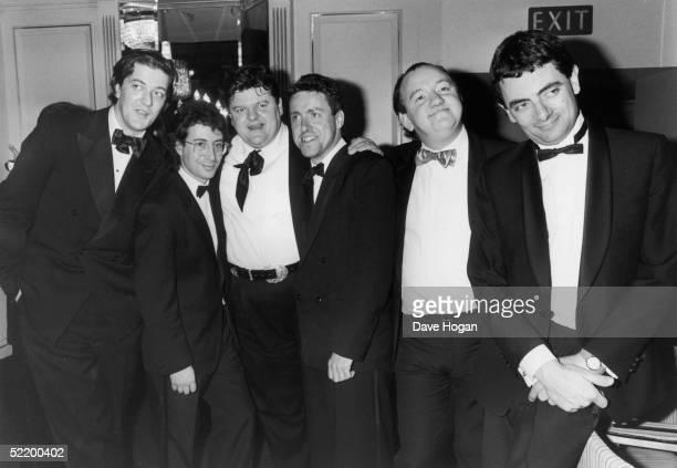 From left to right the cream of British comedy Stephen Fry Ben Elton Robbie Coltrane Griff RhysJones Mel Smith and Rowan Atkinson circa 1990