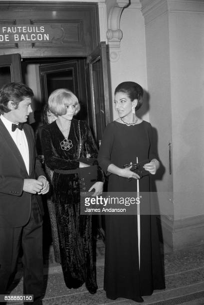 The french actor Alain Delon the french actress Mireille Darc and the Greek Opera singer Maria Callas at the Opera in Paris 15th October 1968
