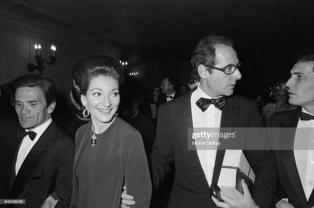The italian film director Pier Paolo Pasolini, the Greek Opera singer Maria Callas (1923-1977) and the film producer Franco Rossellini,and at the première of the opera 'Medea', Paris, 29th January 1970