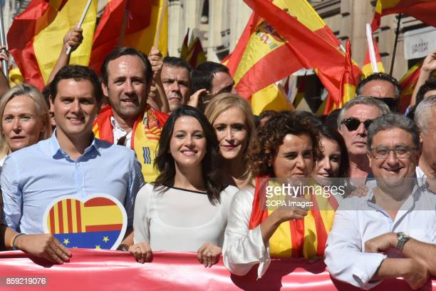 From left to right The President of the political group Ciutadans Albert Rivera the leader of the opposition in Catalonia by Ciutadans Ines Arrimadas...