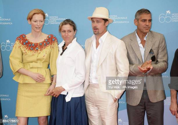 Tilda Swinton Frances McDormand Brad Pitt and George Clooney attend the photocall for Burn After Reading at the 65th Venice Film festival Venice Italy