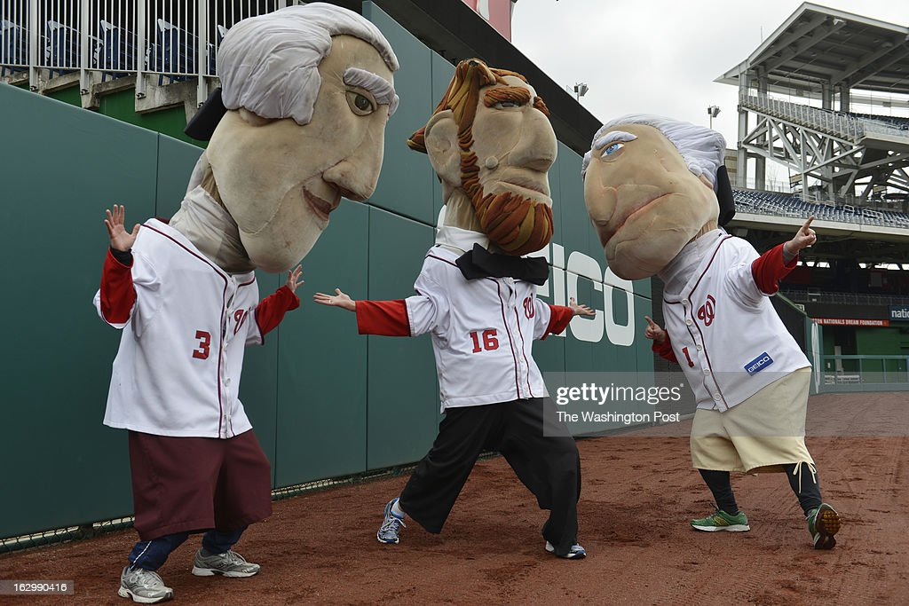 MARCH 02 from left to right, Tom, Abe and George display their victory pose for the cameras as Washington Nationals fans audition to become the next Racing President at Nationals Park in Washington, D.C. on March 02, 2013. Candidates are competing for a chance to fill the shoes of Presidents George Washington, Thomas Jefferson, Abraham Lincoln, Theodore Roosevelt and William Howard Taft. Candidates perform freestyle dance, run a 40-yard dash and run two Presidents Races from center field to the home dugout. Developed in 2006, the Racing Presidents are 12 foot oversized mascots who compete in the GEICO Presidents Race during the fourth inning of every Nationals home game.