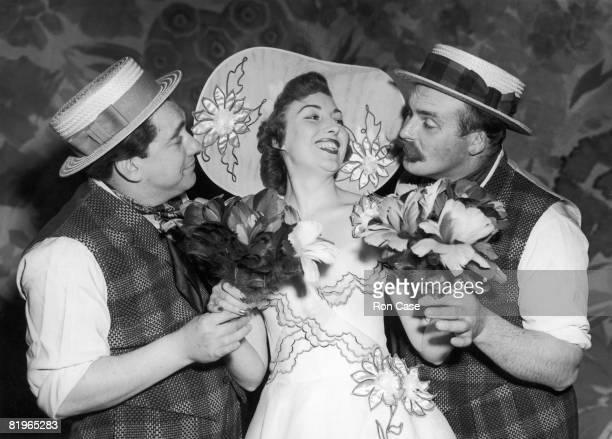 From left to right Tony Hancock Vera Lynn and Jimmy Edwards rehearse a scene for the new revue 'London Laughs' at the Adelphi 8th April 1952