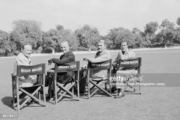 From left to right Trevor Howard David Niven Gregory Peck and Roger Moore stars of 'The Sea Wolves The Last Charge of the Calcutta Light Horse'...