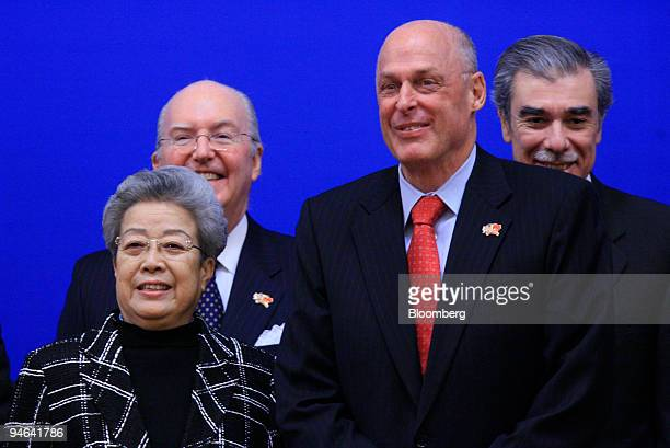 From left to right Wu Yi vicepremier of China Clark T Randt Jr US Ambassador to China Henry Paulson US Treasury Secretary and Carlos Gutierrez US...