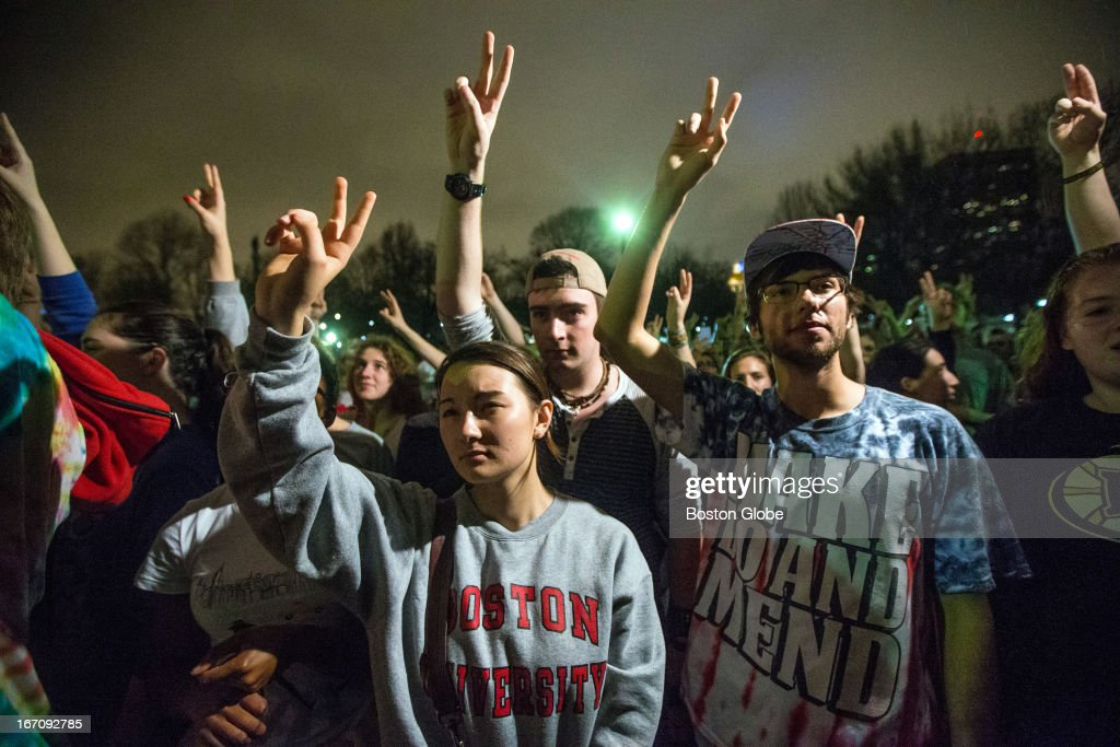 Yasmin Gentry 19, TJ Dolan, 19, and Hunter Stetz, 19, held their hands up during a moment of silence in the Boston Common after both marathon bombing suspects were found. After an intense manhunt and two-hour standoff in Watertown, law enforcement took a person into custody believed to be related to the Boston Marathon bombings.