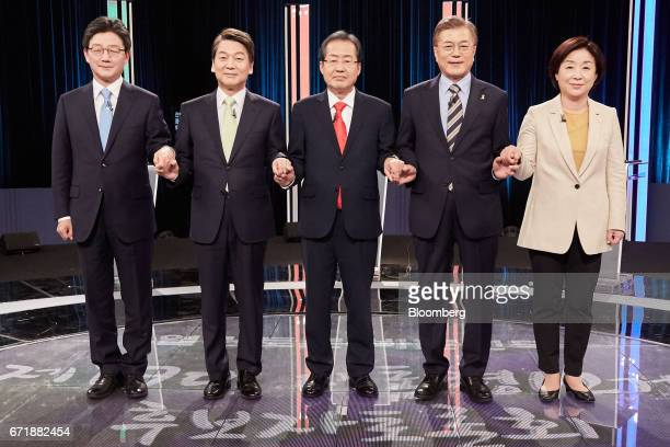 From left to right Yoo Seungmin presidential candidate of the Bareun Party Ahn Cheolsoo presidential candidate of the People's Party Hong Yongpyo...