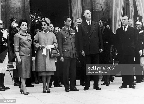 From Left To Right Yvonne De Gaulle The Ambassador Of Thailand Speaking With Maurice Couve De Murville King Bhumibol And Queen Sirikit Mrs Debre...