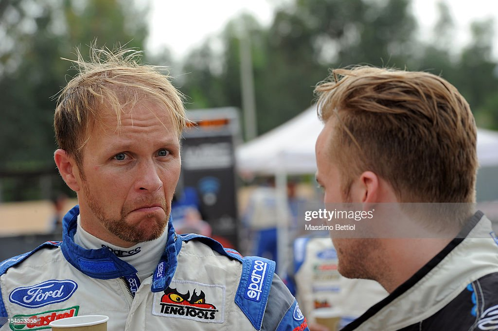 From Left to the Right <a gi-track='captionPersonalityLinkClicked' href=/galleries/search?phrase=Petter+Solberg&family=editorial&specificpeople=204731 ng-click='$event.stopPropagation()'>Petter Solberg</a> of Norway and Mads Ostberg of Norway in the final regrouping during Day Three of the WRC Italy on October 21, 2012 in Olbia ,Italy.