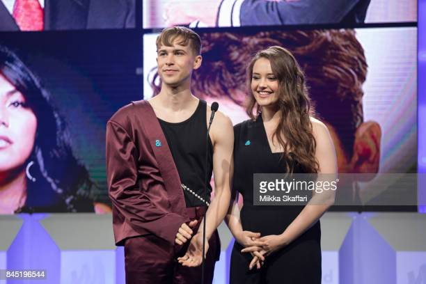 From left Tommy Dorfman and Katherine Langford celebrate achievements in the LGBTQ community at the GLAAD Gala San Francisco in partnership with...