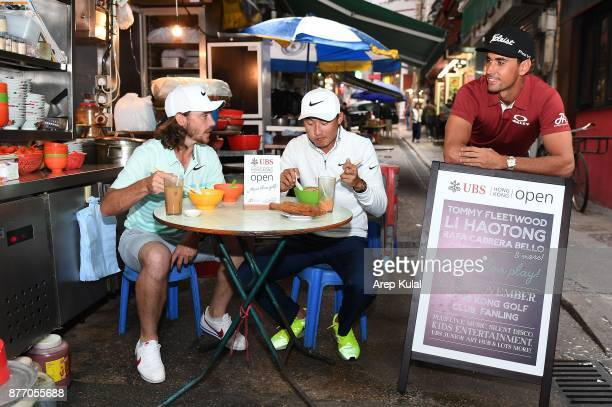 From left Tommy Fleetwood of England Li Haotong of China and Rafa Cabrera Bello of Spain pictured during the photocall ahead of UBS Hong Kong Open at...