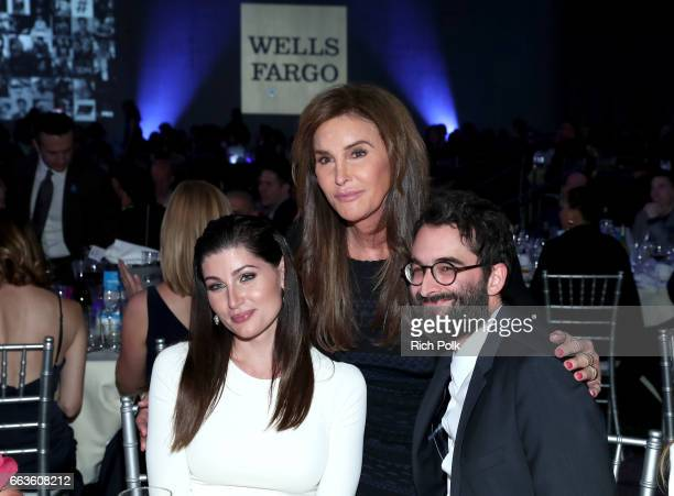 From left Trace Lysette Caitlyn Jenner and Jay Duplass celebrate achievements in the LGBTQ community at the 28th Annual GLAAD Media Awards sponsored...