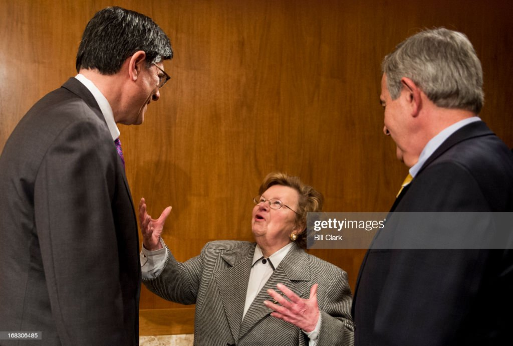 From left, Treasury Secretary Jacob Lew speaks with chairwoman <a gi-track='captionPersonalityLinkClicked' href=/galleries/search?phrase=Barbara+Mikulski&family=editorial&specificpeople=226768 ng-click='$event.stopPropagation()'>Barbara Mikulski</a>, D-Md., and Sen. Mike Johanns, R-Neb., as he arrives to testify during the Senate Appropriations Committee Financial Services and General Government Subcommittee hearing on 'FY2014 funding request and budget justification for the Department of the Treasury and the Internal Revenue Service' on Wednesday, May 8, 2013.