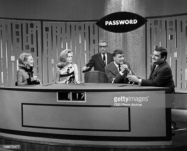 From left unidentified guest Lee Remick Allen Ludden Peter Lawford and Pierre Salinger on the CBS gameshow PASSWORD Image dated December 15 1966