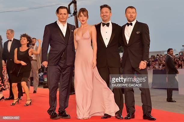 US actor Johnny Depp US actress Dakota Johnson US director Scott Cooper and Australian actor Joel Edgerton arrive for screening of the movie 'Black...