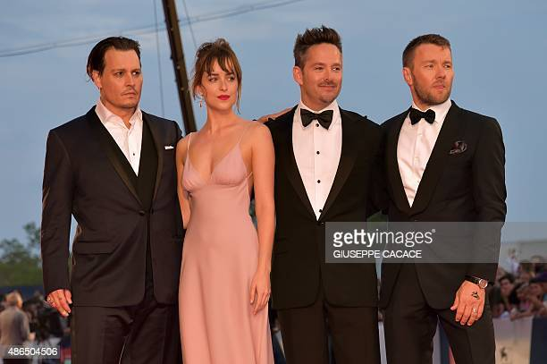 US actor Johnny Depp US actress Dakota Johnson US director Scott Cooper and Australian actor Joel Edgerton arrive for screening of the movie 'Black...