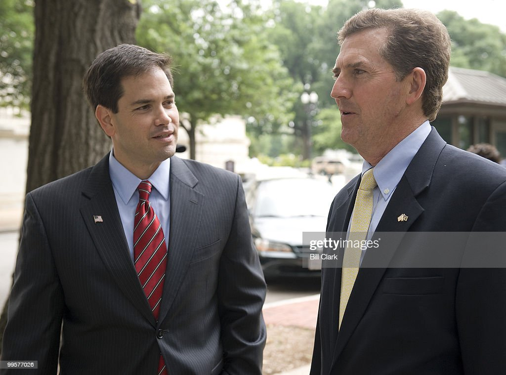 From left, U.S. Senate candidate and former Florida House Speaker <a gi-track='captionPersonalityLinkClicked' href=/galleries/search?phrase=Marco+Rubio+-+Politicus&family=editorial&specificpeople=11395287 ng-click='$event.stopPropagation()'>Marco Rubio</a>, R-Fla., speaks with Sen. Jim DeMint, R-S.C., on Tuesday, June 16, 2009, in Upper Senate Park before speaking with reporters about Sen. DeMint's endorsement of Rubio.