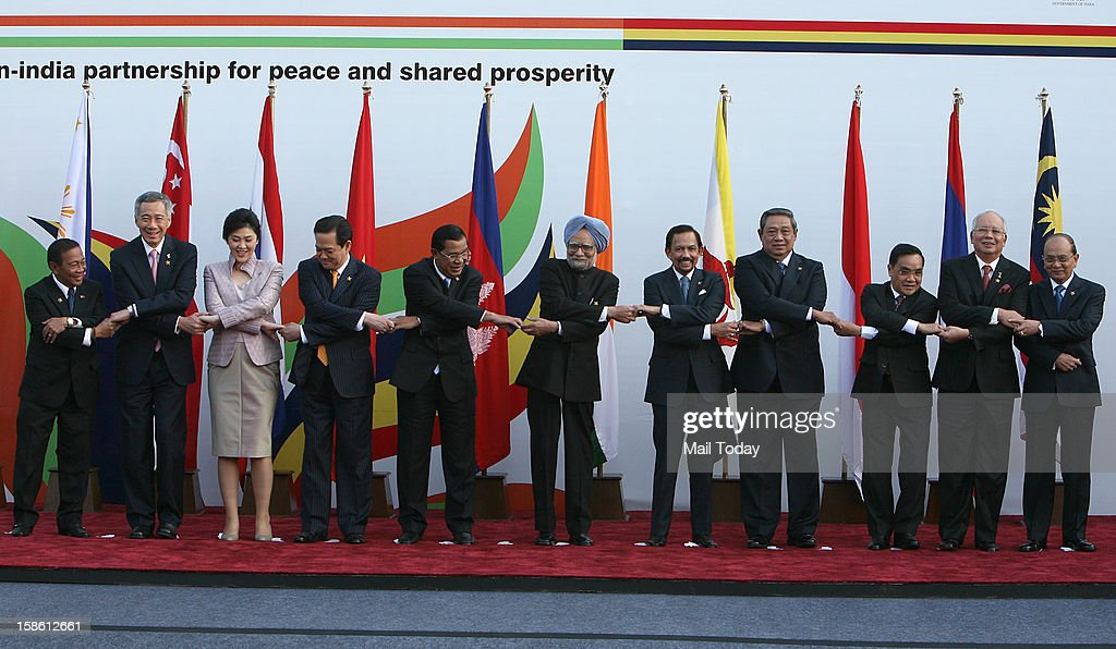 From left - Vice President of Philippines Jejomar Binay, Singapore Prime Minister Lee Hsien Loong, Prime Minister of Thailand Yingluck Shinawatra, Vietnam Prime Minister Nguyen Tan Dung, Prime Minister of Cambodia Hun Sen, Indian Prime Minister Manmohan Singh, Sultan of Brunei Haj Hassanal Bolkiah Waddaulah, President of Indonesia Susilo Bambang Yudhoyonon, Prime Minister of Lao PDR Thongsing Thammavong, Prime Minister of Malaysia Dato Sri Mohd Najib bin Tun Abdul Razak and President of Myanmar Thein Sein pose during the ASEAN -India Commemorative Summit in New Delhi on December 20, 2012. The leaders arrived in Delhi for the India-Association of Southeast Asian Nations (India-ASEAN) summit held from December 20-21.