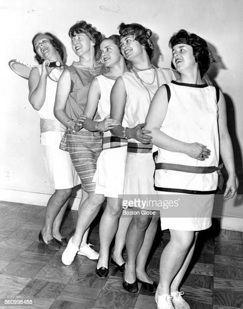 From left Vincent Club of Boston members Rose Lee Thornike Mrs Maurice FremontSmith Jr Edith Brooks Harriette Draper and Dorothy Mixter pose in...