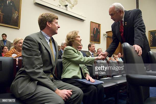 From left witnesses Rep Patrick Kennedy DRI and former first lady Rosalynn Carter chairwoman of the Carter Center's Mental Health Task Force are...