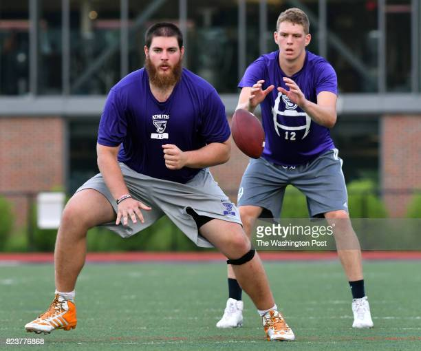 From left Yaniv Kovalski of Jerusalem Israeland quarterback Matt Foltz of Mt Joy PA during a workout at WB Mason Stadium at Stonehill College in...