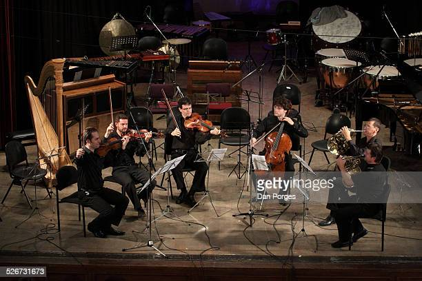 From left Zohar Lerner and Benjamin Peled violins Itamar Ringel viola cellist Gabriel Schwabe Itamar Lesher and Radek Baborak horns play a sextet in...
