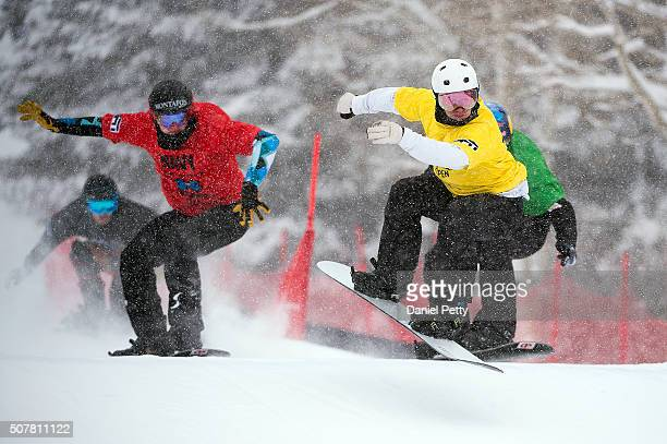 From LR Alessandro Haemmerie in red Jarryd Hughes in yellow and Alex Pullin race in the men's final of men's boardercross at Winter X Games 2016...