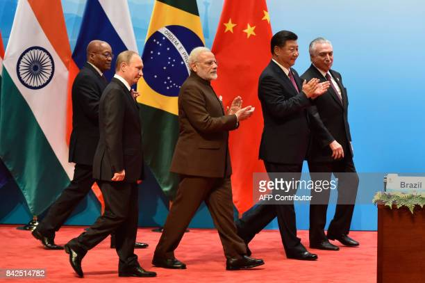Brazilian President Michel Temer Chinese President Xi Jinping Indian Prime Minister Narendra Modi Russian President Vladimir Putin and South Africa's...