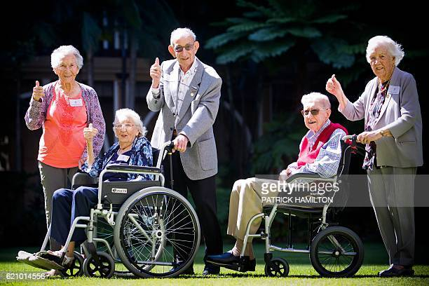 Centenarians Maya Sonnenburg Isabel Paterson Victor Lilienthal Albert Lowcock and Joan Wilson pose for a group photograph at the Queensland...