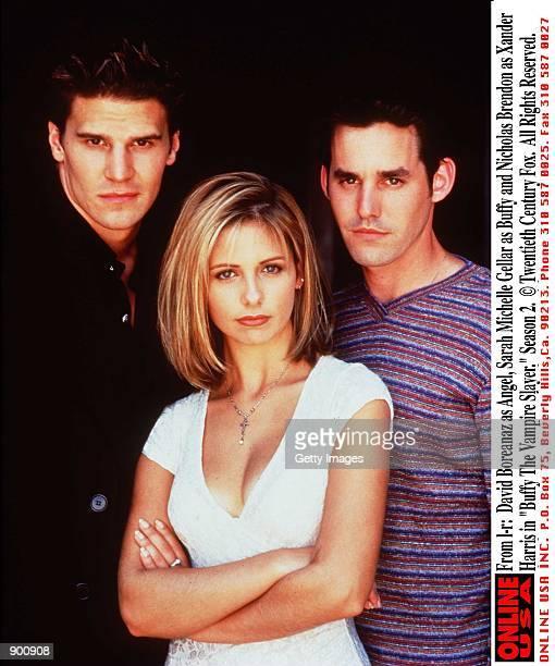 David Boreanaz as Angel Sarah Michelle Gellar as Buffy and Nicholas Brendon as Xander Harris in 'Buffy The Vampire Slayer' Season 2