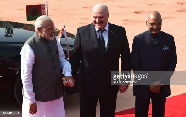 Indian Prime Minister Narendra Modi Belarus President Alexander Lukashenko and Indian President Ram Nath Kovind pose for a picture during a...