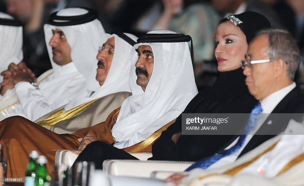 From L-R Qatari Crown Prince Sheikh Tamim bin Hamad al-Thani sits next to the Emir of Kuwait Sheikh Sabah al-Ahmad al-Jaber al-Sabah, the Emir of Qatar Sheikh Hamad bin Khalifa al-Thani and his wife Sheikha Moza, and U.N. Secretary General Ban Ki-Moon as they listen to the opening ceremony of Plenary Session of the High-Level Summit of the United Nations Framework Convention on Climate Change (UNFCCC) in Doha on December 4, 2012.